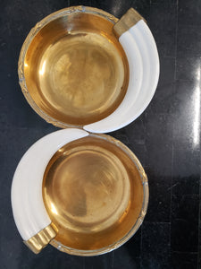 Vintage Brass & Horn Double Dish
