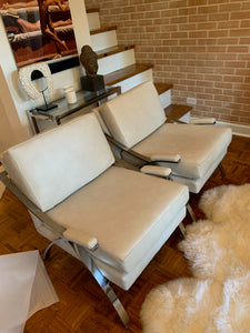 Vintage Chrome & Newly Reupholstered Leather Chairs | Set 2