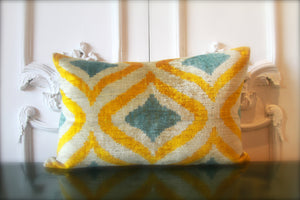 Silk Velvet Ikat Lumbar Pillow 3