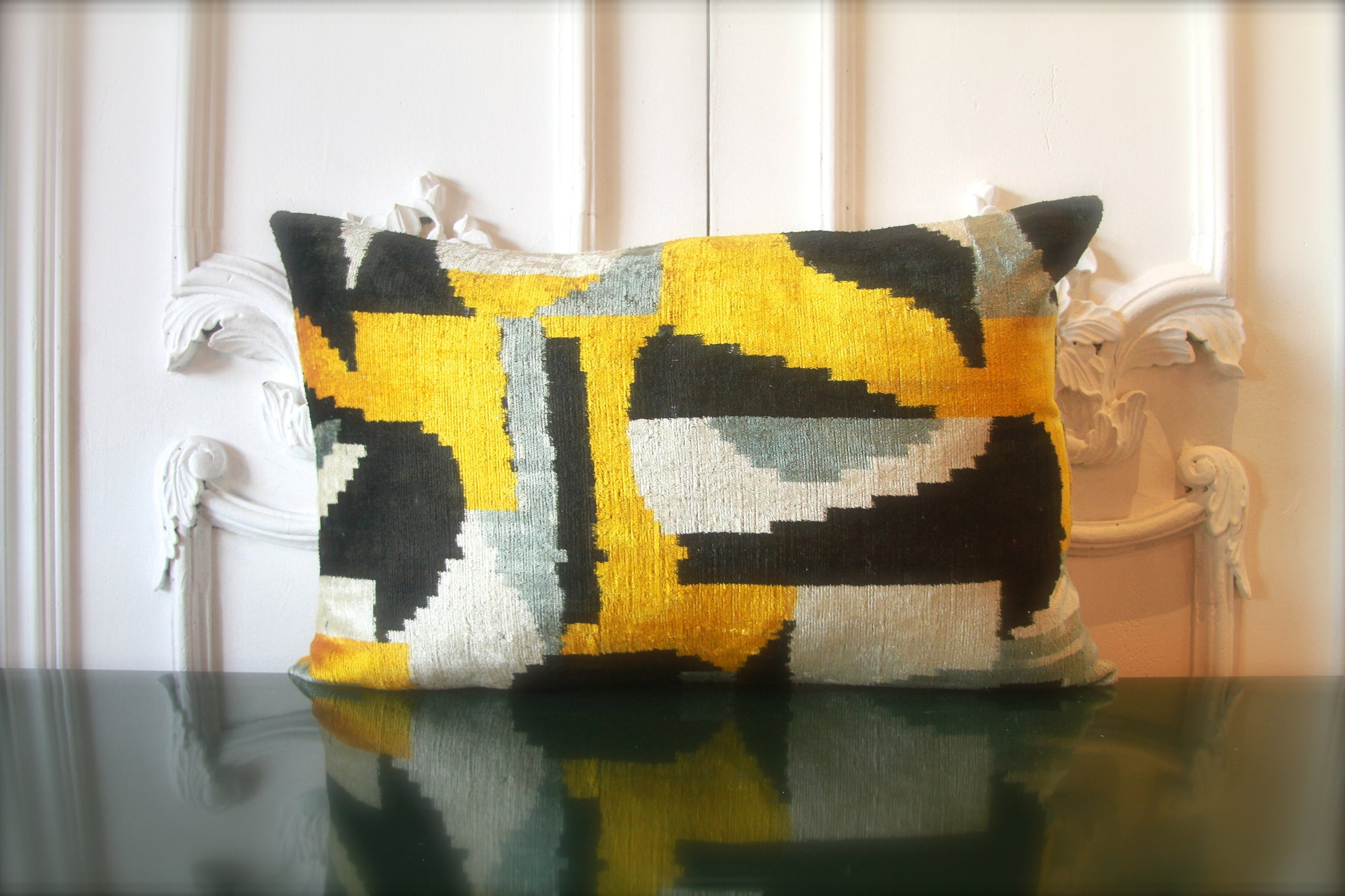 Silk Velvet Ikat Lumbar Pillow 1