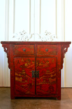 Asian Painted Red Cabinet
