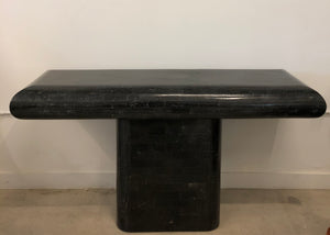Vintage Black Tessalated Marble Console Table