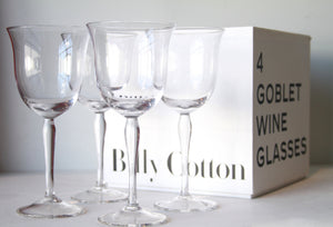Billy Cotton Goblet Wine Glasses Clear Set/4