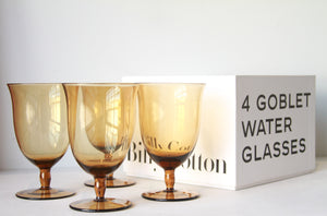 Billy Cotton Goblet Water Glasses Amber Set/4