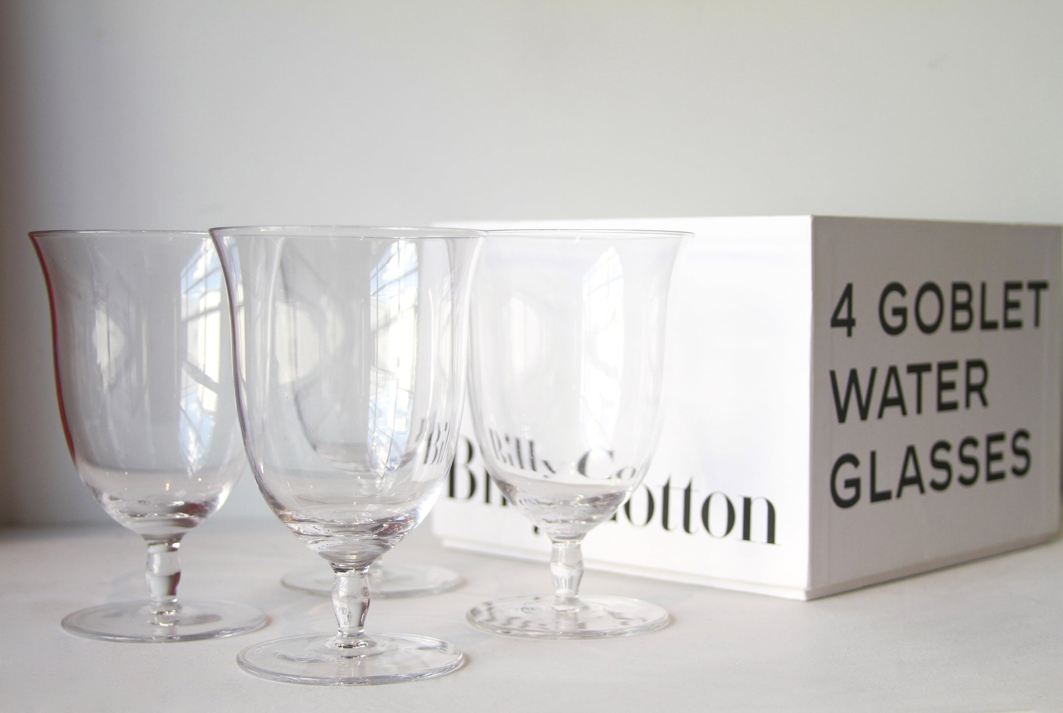 Billy Cotton Goblet Water Glasses Clear Set/4