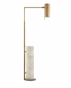 Kelly Wearstler Alma Antique-Burnished Brass and White Marble Floor Lamp