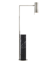 Kelly Wearstler Alma Polished Nickel and Black Marble Floor Lamp