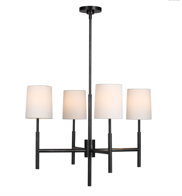 Clarion Small Chandelier in Bronze with Linen Shades