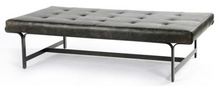 Wide Leather Tufted Bench | Black Leather