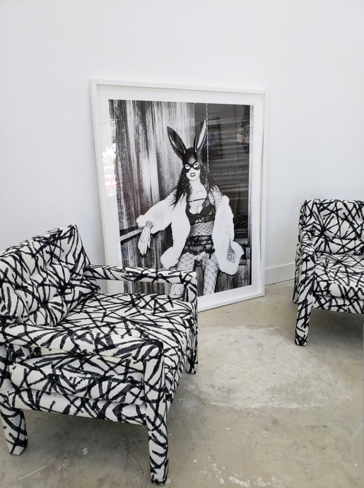 Parsons Chair with reupholstered Black & White fabric