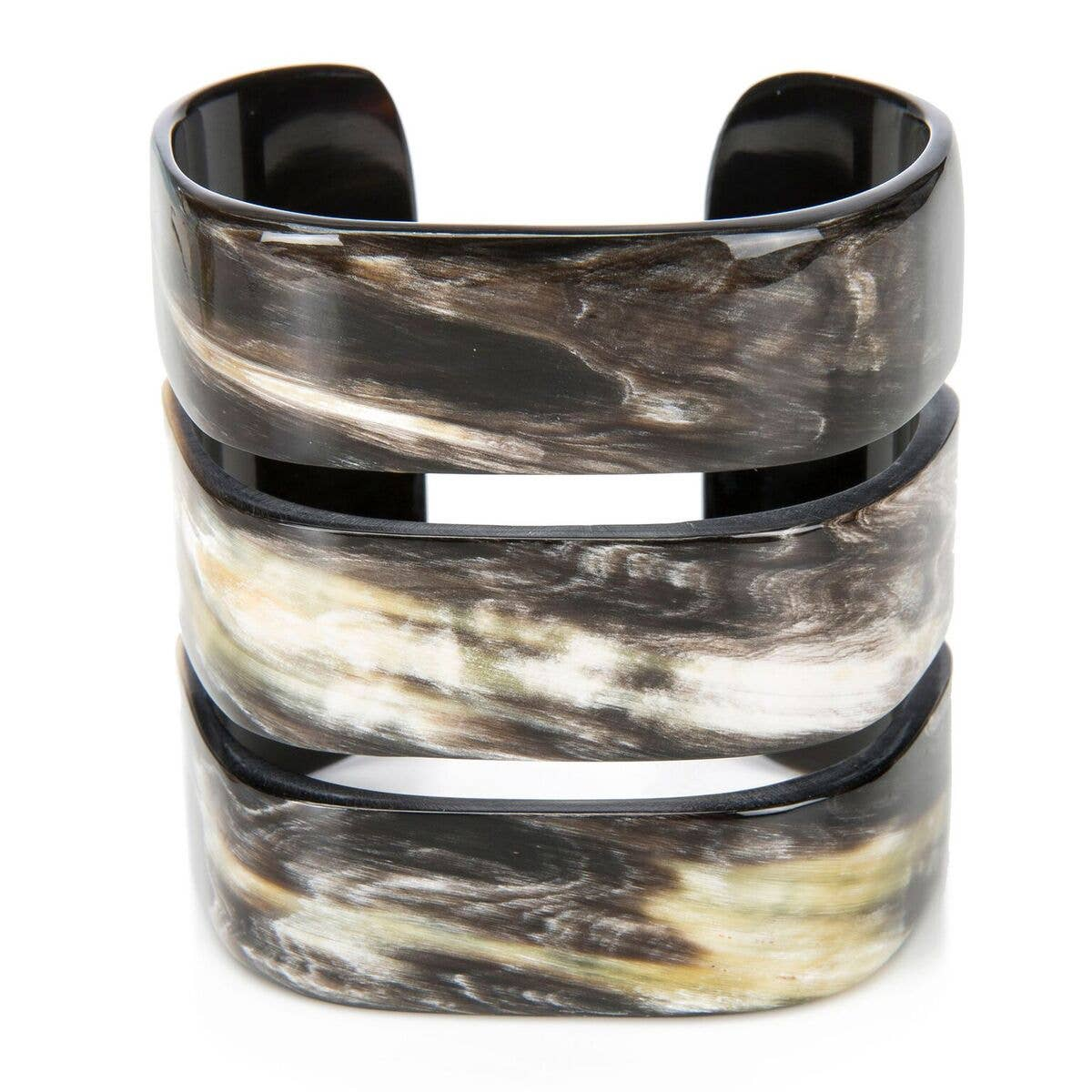 Buffalo Horn Triple Band Cuff Bracelet