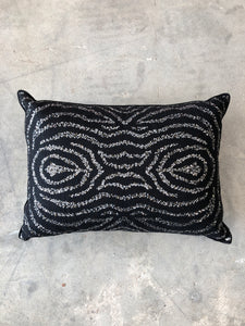 Ankasa Zebra Stripe Black Silver Sequin Pillow