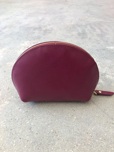Neiman Marcus | Small Leather Cosmetic Case | Dark Pink