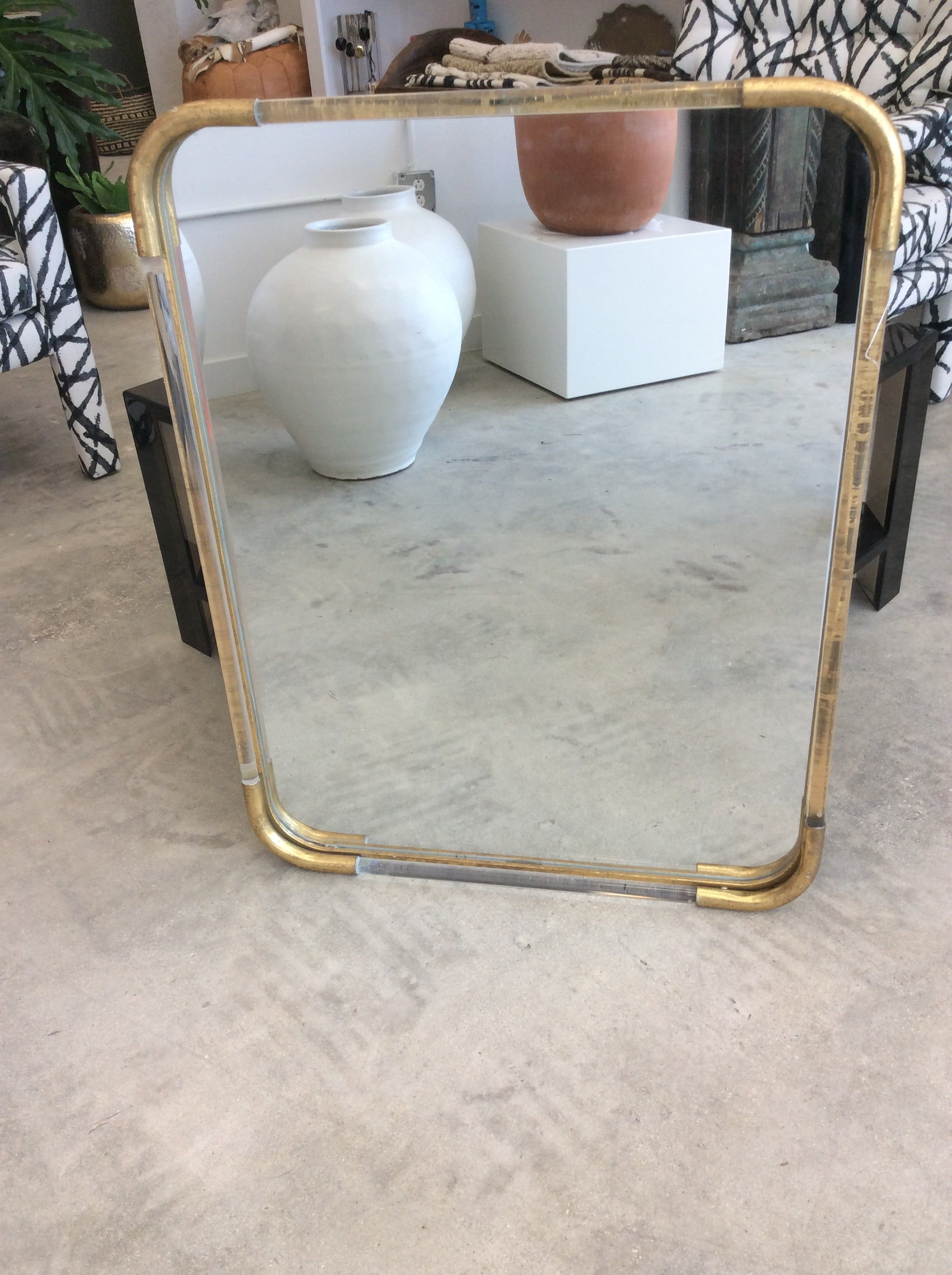 Vintage Acrylic and Brass Mirror