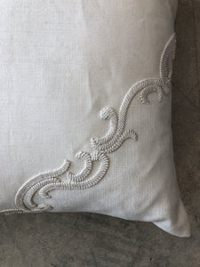 Ivory Scroll Pillow by Ankasa