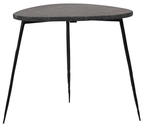 Marble top side table with black steel legs