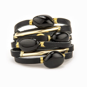 Taylor Black Leather Shred Bracelet