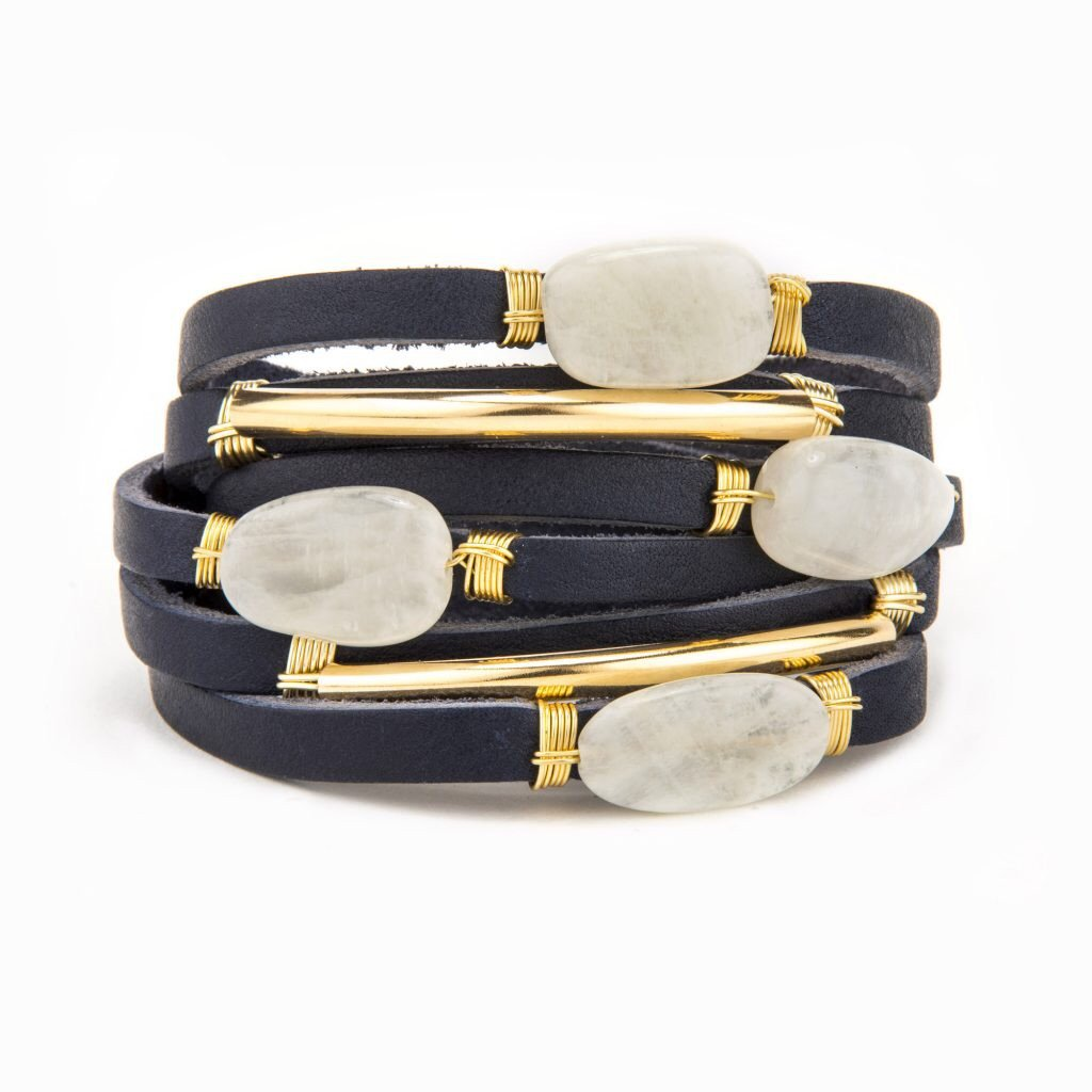 Ashlyn Navy Leather Shred Bracelet