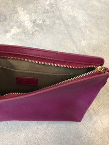 Neiman Marcus | Leather Clutch | Dark Pink