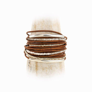 Lovell Tan Leather & Sterling Bracelet