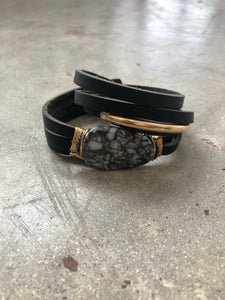 Flynn Brown Leather Shred Bracelet