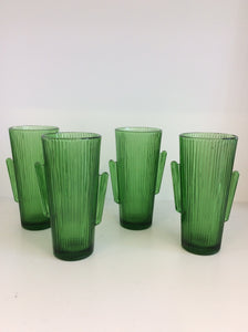Vintage Green Cactus Glasses/ Set 4