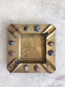 Brass Vintage Jeweled Ashtray Large
