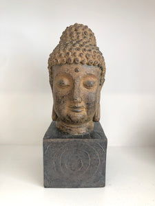 Buddha Head on Wood Base