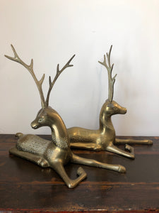 Vintage Brass Deer | Set of 2