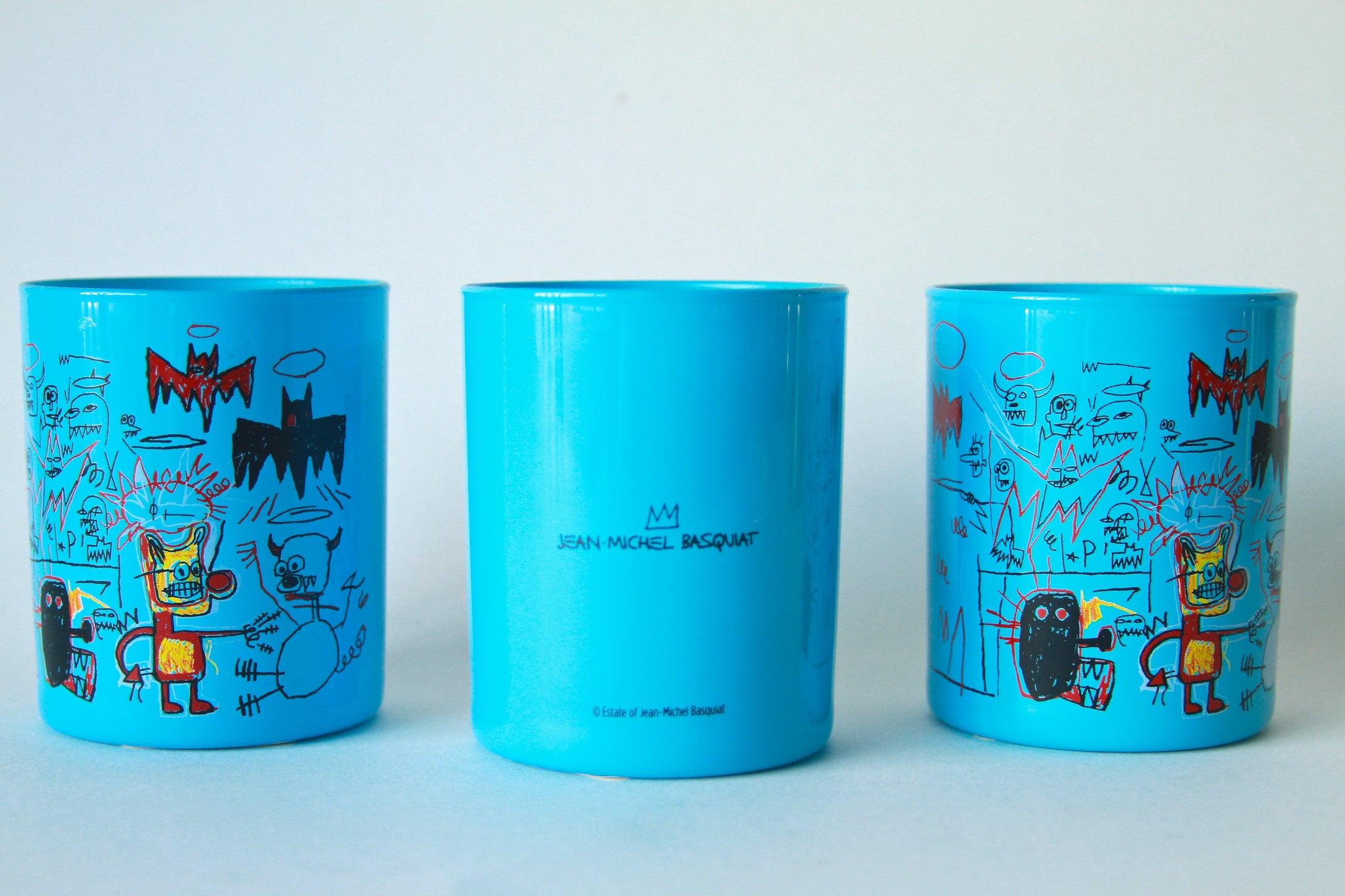 Jean-Michel Basquiat Candle | Blue Glass with Bats