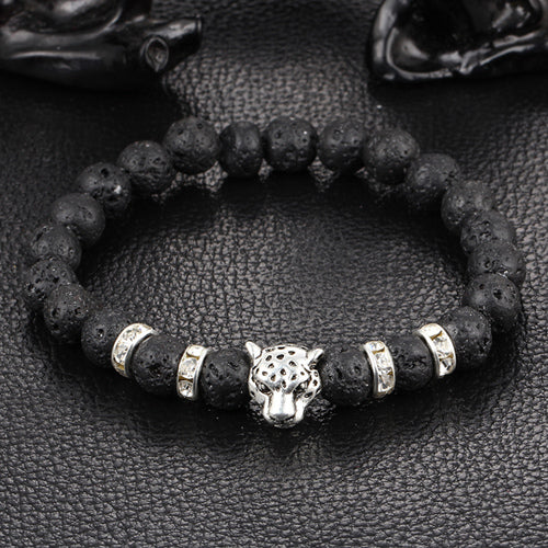 Antique Silver Plated Leopard head Bracelet beaded with natural stones - menswhistle