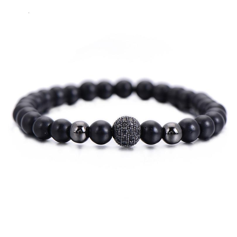 Men's Bracelet with Natural Stone Matte Beads - menswhistle
