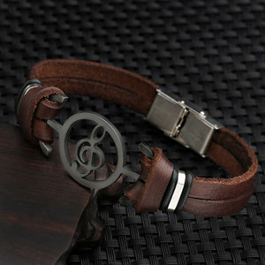 Musical Bracelet stainless steel with Genuine Leather Bracelets - menswhistle