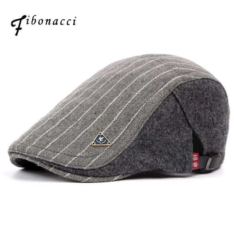 Retro Adult Berets Men Wool Striped Cabbie - menswhistle