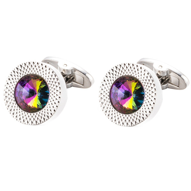 Crystal Cuff links Groom Wedding Cufflinks (Shirt Cuffs) - menswhistle