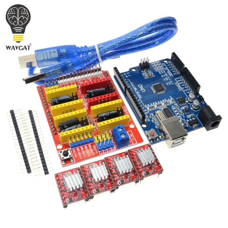 Free shipping! cnc shield v3 engraving machine 3D Printer+ 4pcs A4988 driver expansion board UNO R3 with USB cable