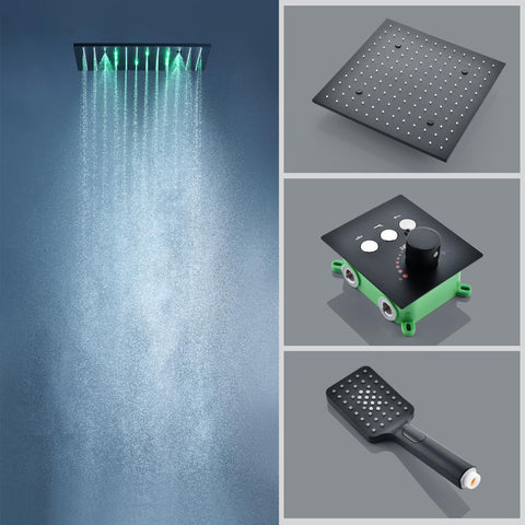 16 inch Luxury Black Thermostatic Ceiling mount Shower System FLUXURIE.COM