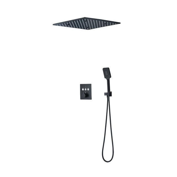 16 inch Luxury Black Thermostatic Ceiling mount Shower System FLUXURIE.COM Without LED