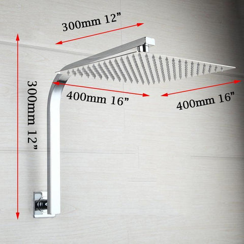 16 inches Rainfall Shower Head + Goose Neck Shower Arm Chromed Finish 16 inches Rainfall Shower Head + Goose Neck Shower Arm FLUXURIE.COM
