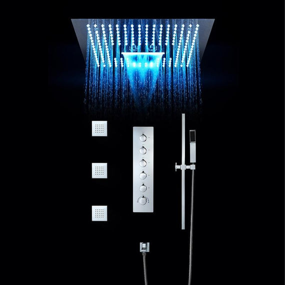 "16"" x 16"" Luxury Bathroom Shower Set Rain Showers LED Light Embedded Ceiling Thermostatic Waterfall ........ - ZARA Zara FLUXURIE.COM"