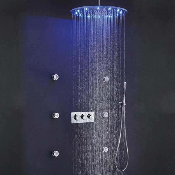 20 Inch Round LED Light Ceiling Shower SPA RainfallShowerhead Brushed 3-Functions Shower Faucet Brass Bathroom Shower Sets FLUXURIE.COM