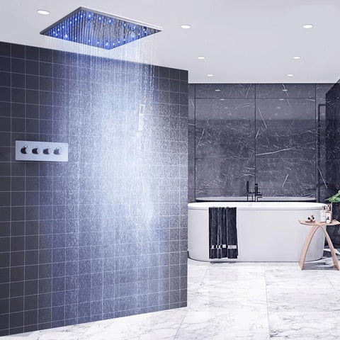20 Inches LED Rain Spray Stainless Steel Shower Head System - DELIA Delia fluxurie.com