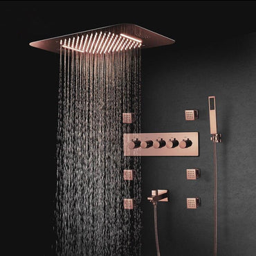 "23"" x 15"" Luxury Bronze shower Set with Blutotth Light and Soundsystem control - Victoria Victoria FLUXURIE.COM"