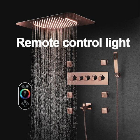 "23"" x 15"" Luxury Bronze shower Set with Blutotth Light and Soundsystem control - Victoria Victoria FLUXURIE.COM Remote Control"