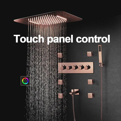 "23"" x 15"" Luxury Bronze shower Set with Blutotth Light and Soundsystem control - Victoria Victoria FLUXURIE.COM Touch Panel Control"