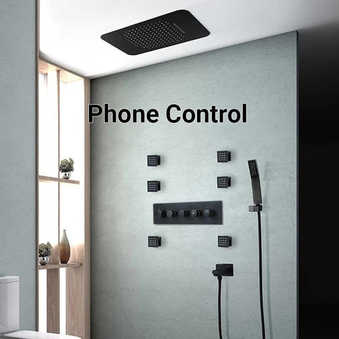 "23"" x 15"" Luxury Shower Set with Bluetooth Light and Soundsystem control - VICTORIA Victoria FLUXURIE.COM Black Phone Control"