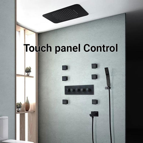 "23"" x 15"" Luxury Shower Set with Bluetooth Light and Soundsystem control - VICTORIA Victoria FLUXURIE.COM Black Touch Panel Control"