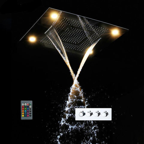 "31"" LED Ceiling Mount Rain - Big Rain - Dual Rain and Waterfall Shower System - Asaro 31"" LED Ceiling Mount Rain - Big Rain - Dual Rain and Waterfall Shower System fluxurie.com"
