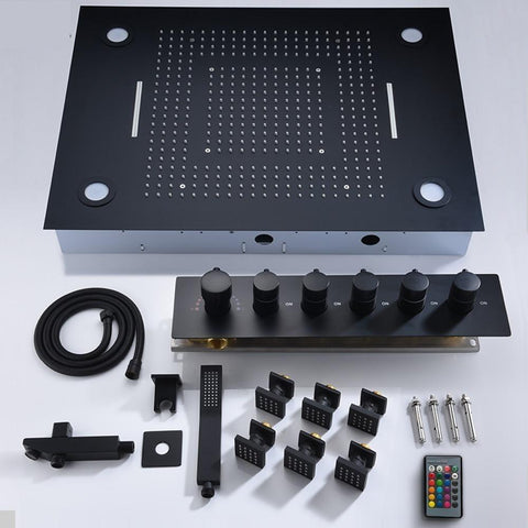32 x 24 inch Multi-Function Shower System Set with Led Remote Control in Black - NERELLA Nerella FLUXURIE.COM