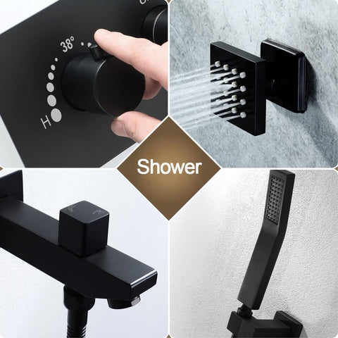 400mm Shower Set Rainfall Showerhead 304 SUS Remote Control Led Ceiling Black Shower Faucets Thermostatic Massage Showers FLUXURIE.COM